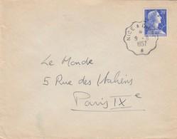 LETTRE . AMBULANT.  NICE A DIGNE 1957.  POUR PARIS - Postmark Collection (Covers)