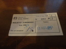 BIGLIETTO INGRESSO STAZIONE ROMA TERMINI - LIRE 300/ 500 LIRE- 1983 - Europa