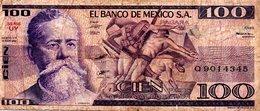 MEXIQUE Billet 100 Pesos Série UY - Mis En Circulation 1982 - Mexico
