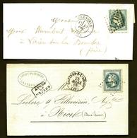 CP9- 15- LOT 2 LETTRES CLASSIQUES FRANCE- TIMBRES LAURÉ N°29- LOSANGE N°772 CASTRES + 1716 GRENOBLE- 1868- 2 SCANS - Marcophilie (Lettres)