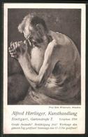 Vertreterkarte Stuttgart, Kunsthandlung Alfred Hirrlinger, Gartenstrasse 7, Alter Nackter Mann - Alte Papiere