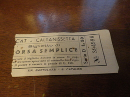 BIGLIETTO AUTOBUS SCAT-CALTANISSETTA-BIGLIETTO CORSA SEMPLICE-LIRE 50 - Busse