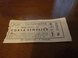 BIGLIETTO AUTOBUS SCAT-CALTANISSETTA-BIGLIETTO CORSA SEMPLICE-LIRE 50 - Bus