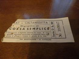 BIGLIETTO AUTOBUS SCAT-CALTANISSETTA-BIGLIETTO CORSA SEMPLICE-LIRE 50 - Europa