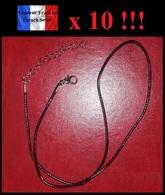 Lot De 10 Chaînes Ajustables En Cuir Et Métal Argenté NEUVES ! - Necklaces/Chains