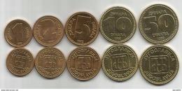 Yugoslavia  1992. Set Of 5 Coins  1 - 2 - 5 - 10  And 50 Dinara KM#149/53 - Yugoslavia