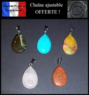 Lot 9 - 5 Pendentifs NEUFS + 1 Chaîne OFFERTE ! ( Pendant ) - Turquoise Jade Quartz Et Autres Pierres - Pendants