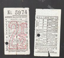 (Angleterre) LOT De 2 Tickets LONDON TRANPORT BUSES (PPP18262) - Bus