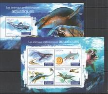 ST133 2015 GUINEE GUINEA MARINE LIFE WATER PREHISTORIC ANIMALS KB+BL MNH - Briefmarken