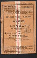 (Angleterre) Billet SOUTHERN RAILWAY PARIS TO LONDON (return Ticket) (PPP18263) - Railway