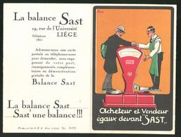 Werbebillet Liege, La Balance Sast, Verkäufer Und Kunde Stehen Auf Einer Waage Von Sast - Alte Papiere
