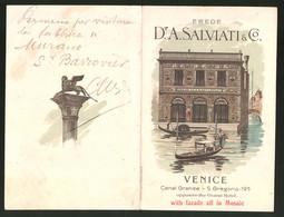 Werbebillet Venice, Glasware Mosaics Erede Dr. A. Salviati & Co., Canal Grande - S. Gregorio 195, Gondeln - Alte Papiere