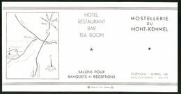 Werbebillet Kemmel, Hostellerie Du Mont-Kemmel, Ansichten, Innenansichten, Anfahrtskizze - Alte Papiere