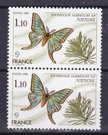 N° 2089 Série Nature: Papillon Graellsia Isabelle Gr: Belle Paire De 2 Timbres Neuf Impeccable - France