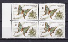 N° 2089 Série Nature: Papillon Graellsia Isabelle Gr: Beau Bloc De 4  Timbres Neuf Impeccable - Unused Stamps
