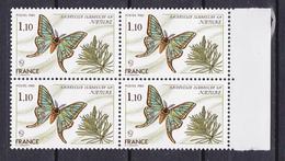 N° 2089 Série Nature: Papillon Graellsia Isabelle Gr: Beau Bloc De 4  Timbres Neuf Impeccable - France