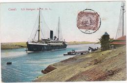CPA Egypte - Canal: S/S Stuttgart Du N. D. L.- Paquebot - Canal De Suez - 1913 - Suez