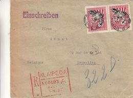 Lituanie - Lettre Recom De 1928 ° ? - Oblit Klaipeda - Exp Vers Bruxelles - - Lituanie