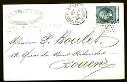 CP9- 19-  LETTRE CLASSIQUE TIMBRE N° 22 PIQUAGE A CHEVAL- ETOILE PARIS N°28- 8 BRISÉ 2ème ETAT N° 3663-  2 SCANS - Marcophilie (Lettres)
