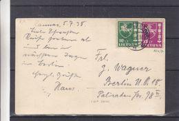 Lituanie - Carte Postale De 1938 - Oblit Kaunas - Exp Vers Berlin - Armoiries - Vue De Kauno Prieplauka - Lituanie