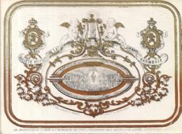 """BRUXELLES-BRUSSEL """" SOCIETE ROYALE-GRANDE HARMONIE-NIEUWJAARSWENSEN 1863""""LITH.CARBOTE FRERES-143/103MM - Porcelaine"""