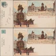 Allemagne 1897. 2 Entiers Postaux TSC, Avec Et Sans Gruss Aus Berlin. Enfant Avec Cerceau, Statues De Lion, Wilhelm - Enfance & Jeunesse