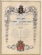 """ANTWERPEN-ANVERS """"BANQUET OFFERT PAR LE GOUVENEUR DE LA PROVINCE 1864""""LITH.RATINCKX- 280MMX212MM - Porcelaine"""