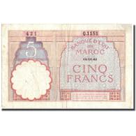 Billet, Maroc, 5 Francs, 1941, 1941, KM:23Ab, TTB+ - Morocco
