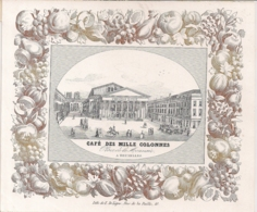 "BRUXELLES,BRUSSEL""CAFE DES MILLE COLONNES-NIEUWJAARSKAART 1852""-LITHO E.DE LIGNE-175/147MM - Cartes Porcelaine"