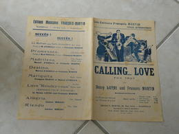 Calling Love (Fox Trot Benny Layne & François Martin)-(Paroles)(Musique)Partition Pour Orchestre - Musique & Instruments