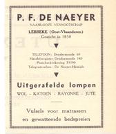 Org. Knipsel Tijdschrift - Pub Reclame - P.F. De Naeyer - Lompen Wol Katoen - Lebbeke - 1946 - Publicités