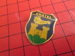 811h Pin's Pins / Rare Et Beau : THEME VILLES / BLASON ECUSSON ARMOIRIES CHATEL CHATEAU CORNE D'ABONDANCE - Villes
