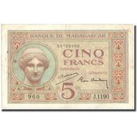Billet, Madagascar, 5 Francs, KM:35, TTB - Madagascar