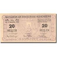 Billet, Autriche, Hohenberg, 20 Heller, Blason 1920-12-31, SPL Mehl:FS 388IIc - Austria