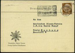 GIESSEN 1/ A/ Besucht D.alte/ Universitätsstadt 1939 (2.4.) MWSt Auf Dekorativer Klapp-Kkt.: Deutscher Alpen-Verein.. (E - Postzegels