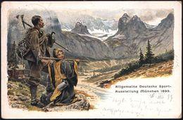 """MUENCHEN/ SPORT-AUSSTELLUNG 1899 SSt. Auf PP 5 Pf. Wappen Grün: Allgem. Deutsche Sport-Ausstellung = Alpinist Mit """"Kindl - Postzegels"""