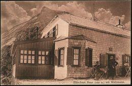 RAMSAU (OBB.) 1908 (20.8.) 1K + Viol. HdN: Münchner Haus/D.O.A.V/..Watzmann 1930 M , Monochrome Bedarfs-Foto-Ak.: Münchn - Postzegels