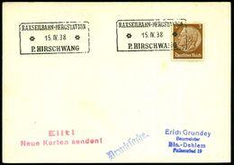 """RAXSEILBAHN-BERGSTATION/ **/ P.HIRSCHWANG 1938 (15.4.) Seltener, Weiter Verwendeter österr. Ra3 = """"Ostmark""""-Verwendung = - Postzegels"""