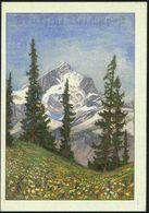 DEUTSCHES REICH 1941 (24.10.) Schmuckblatt-Telegramm: Alpen-Panorama (Tannen,Blumenwiese, Rs. Geschützte Alpenblumen) Be - Postzegels