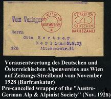 ÖSTERREICH 1928 (Nov.) Buchdruck-AFS Als VE: XV WIEN 101/*/ÖSTERREICH/4/GROSCHEN/BAR BEZAHLT = Zeitungs-Sb Des Deutsch-Ö - Postzegels
