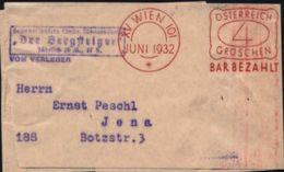 """ÖSTERREICH 1932 (Juni) Buchdruck-PFS: XV WIEN 101/*/ÖSTERREICH/4/GROSCHEN/BAR BEZAHLT = VE + Viol. Ra.:3: """"Der Bergsteig - Briefmarken"""