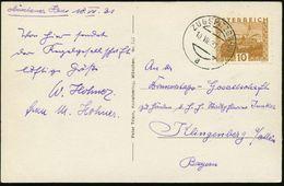 ÖSTERREICH 1931 (10.7.) 1K-Brücke:  Z U G S P I T Z B A H N /a = Hauspostamt Seilbahnstation (österr. Seite) Klar Gest.  - Briefmarken
