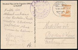 ÖSTERREICH 1928 (23.8.) 1K-Brücke: ZUGSPITZBAHN/b Auf  S/w.-Foto-Ak.: Münchner Haus = Zugspitzhotel N.. Baden B. Wien (M - Postzegels