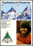 """PAKISTAN 1984 (11.8.) PFS: KARACHI GPO/RES Auf Color-Reklame-Ak.: Reinhold Messner Doppelbesteigung In Einem Zug """"Gasher - Briefmarken"""