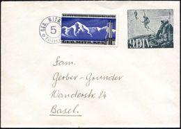 """SCHWEIZ 1939 Militär-Ganzsachen-Umschlag: """"9. DIV."""" Grün: Seilschaft-Patrouille Beim Aufstieg + Zusatzfrank. """"Geb. Mitr. - Briefmarken"""