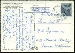 SCHWEIZ 1967 (19.11.) HWSt.: JUNGFRAUJOCH/3454 M = Hauspostamt Schutzhaus, Hotel- U. Restaurant, Bergbahn- U. Meteorolog - Briefmarken