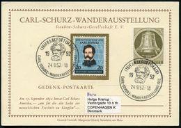 (16) FRANKFURT (MAIN)/  CARL-SCHURZ-WANDERAUSST. 1952 (24.9.) SSt = Kopfbild Schurz Auf Passender 20 Pf. Schurz + 5 Pf.B - Geschiedenis