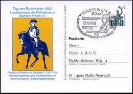 3240 HALDENSLEBEN 1/ General V.Steuben/ 1730-1794/ TAG DER BRIEFMARKE.. 1992 (25.10.) SSt = F. W. Von Steuben (Brustbild - Geschiedenis