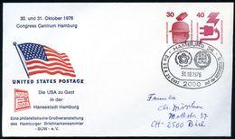 2000 HAMBURG 36/ Die USA Zu Gast.. 1976 SSt Auf PU 30 + 40 Pf. Unfall: US POSTAGE.. (US-Flagge, Mi.PU 95/1), Portorichti - Zonder Classificatie