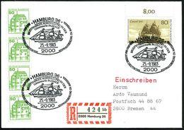 2000 HAMBURG 36/ 300 JAHRE DEUTSCHE EINWANDERUNG IN AMERIKA.. 1983 (25.9.) SSt = Auswandererlschiff Auf 80 Pf. Auswander - Geschiedenis